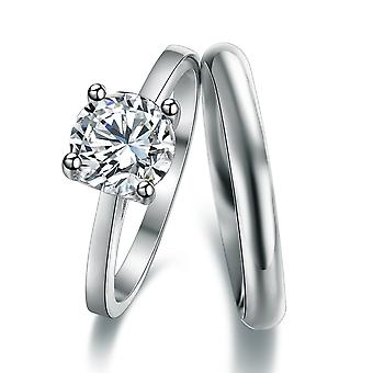 925 Silver Classic Round Cut Solitaire Engagement And Band Ring Set