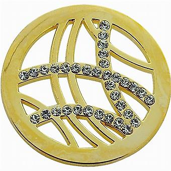 TOC Goldtone Arches Rhinestone Design Coin for Interchangeable Locket Pendant