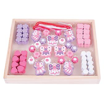 Bigjigs Toys Colourful Wooden Fairy Bead Box Threating Lacing Arts Crafts Kids