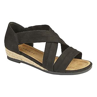 Ladies Womens Sandals Heel-In Stretchy Crossover Bar Wedge Espadrilles Shoes