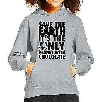 Save The Earth Its The Only Planet With Chocolate Kid's Hooded Sweatshirt