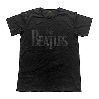 The Beatles T Shirt drop t band Logo Official Mens Vintage Finish Black