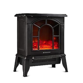 Freestanding Electric Wood Burning Flame Effect Fireplace Width 44cm 1800W Black