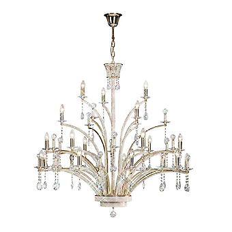 Diyas Orlando Pendant 21 Light French Gold/Crystal (ITEM REQUIRES ASSEMBLY)
