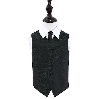 Boy's Black & Green Swirl Wedding Waistcoat & Cravat Set