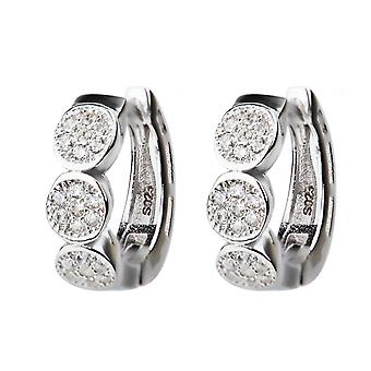 Affici 18ct White Gold Plated Sterling Silver Huggie Earrings with Diamond CZ Gems
