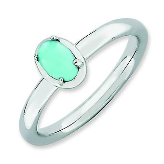 2.25mm Sterling Silver Prong set Rhodium-plated Stackable Expressions Simulated Turquoise Polished Ring - Ring Size: 5 t