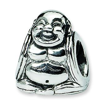 Sterling Silver Polished Antique finish Reflections SimStars Buddha Bead Charm