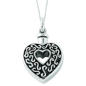 Sterling Silver Polished Gift pouch Spring Ring Rhodium-plated Antique finish Antiqued Heart Ash Holder 18inch Necklace