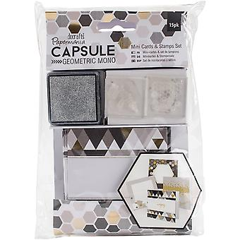 Papermania Geometric Mono Mini Cards & Stamps Set 15/Pkg- PM105304