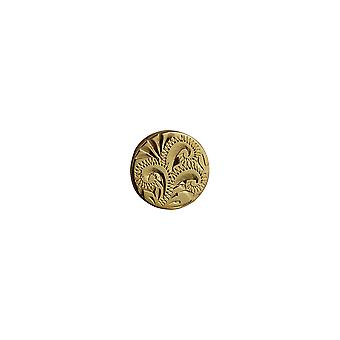Hard Gold Plated 12x8mm round hand engraved Tie Tack