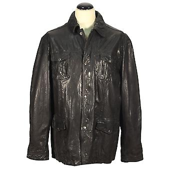 Latsina - men coat men jacket crushed lamb nappa leather dark grey jacket