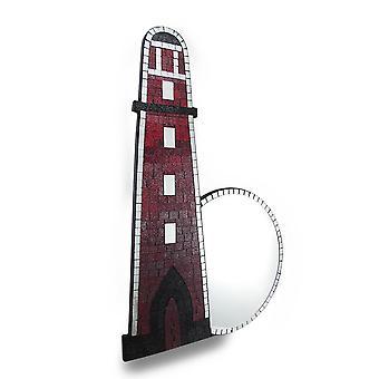 Schönen Mosaik Glas Leuchtturm Wandspiegel