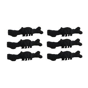 6 Piece Matte Black Forest Bear Cast Iron Drawer Pull Set