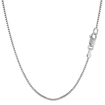10k White Gold Classic Mirror Box Chain Necklace, 1.0mm