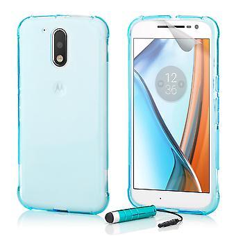 Tuff Crystal Gel case + penna för Motorola Moto G4 / G4 Plus - Light Blue