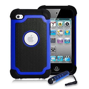 Shockproof Case Cover + stylus for Apple iPod Touch 4 - Deep Blue