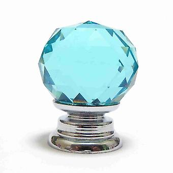 Small Blue Crystal Faceted Cut Glass Knob