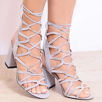Shoe Closet Lace Up Heels - Ladies Morgan-1 Grey Peep Toes Ankle Strap Strappy Sandals High Heels