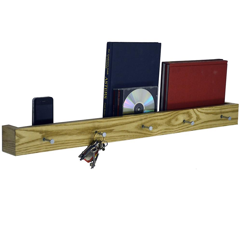 Ellis - Wall Mounted 80cm Floating 5 Coat Hook / Picture Shelf - Oak