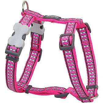 Red Dingo Harness One Touch Reflective Fuchsia