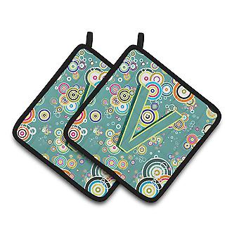 Letter V Circle Circle Teal Initial Alphabet Pair of Pot Holders