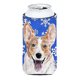 Cardigan Corgi Winter Snowflakes Tall Boy Beverage Insulator Hugger