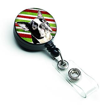 Boston Terrier Candy Cane Holiday Christmas Retractable Badge Reel