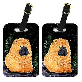 Carolines Treasures  SS8489BT Starry Night Chow Chow Luggage Tags Pair of 2