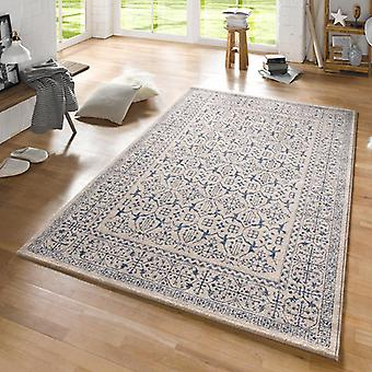 Design carpet rustic cream blue | 102432