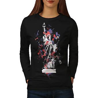 Statue Freedom New York Women BlackLong Sleeve T-shirt | Wellcoda