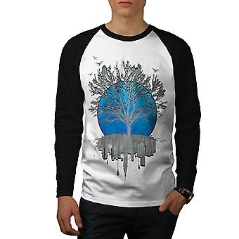 Urban Mirror Tree Men White (Black Sleeves)Baseball LS T-shirt | Wellcoda