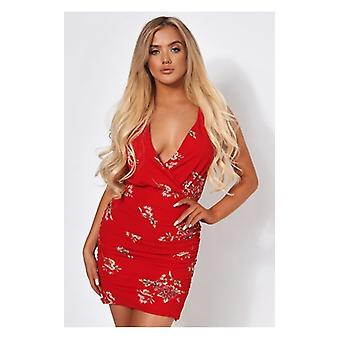The Fashion Bible Red Floral Bodycon Dress