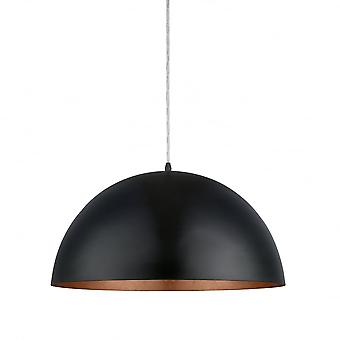 Eglo Gaetano Matte Black And Copper Dome Hanging Lamp, 530mm