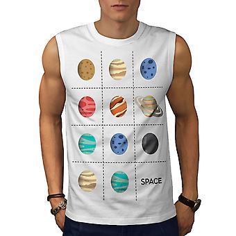 Planeet Geek kosmische mannen WhiteSleeveless T-shirt | Wellcoda