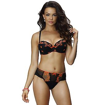 Nessa B2 Women's Sylvie Black Solid Colour Embroidered Padded Underwired Push Up Bra