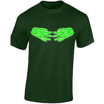 Esqueléticas manos lado Halloween resplandor en el Mens camiseta 10 colores oscuros (S-3XL) por swagwear