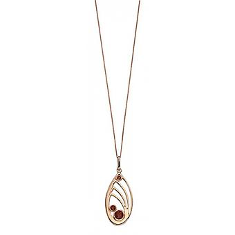 Elements Silver Swarovski Quilling Topaz Pendant - Rose Gold/Smoky