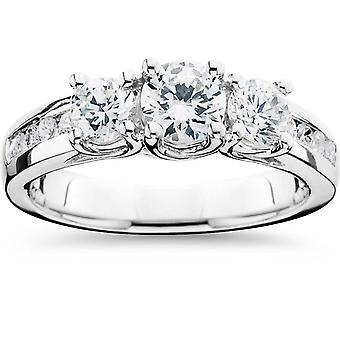 1 3 / 4CT 3 Stone Diamond Engagement Ring 14K White Gold