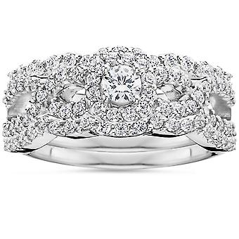 1 1/10Ct Diamond Engagement Bridal Wedding Ring Set 10K White Gold