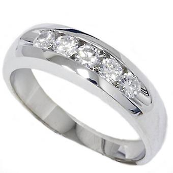 Mens 3/4ct Diamond White Gold Wedding Ring Band New