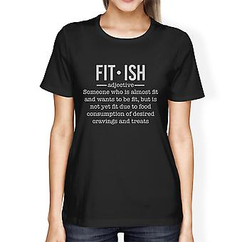 Fit-ish Womens Black Trendy Graphic Funny Gym Tops T-Shirt For Her