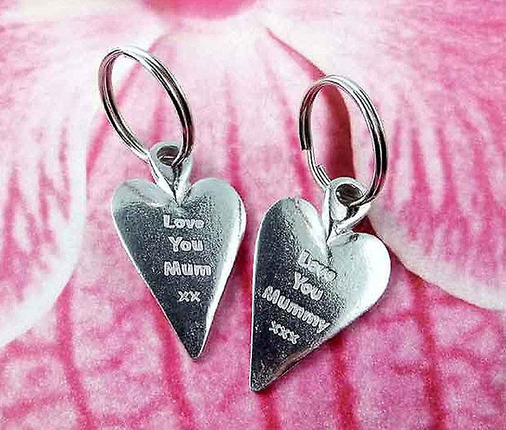 Love You Mummy xxx Heart Pewter Key Ring