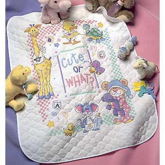 Baby Hugs Cute...Or What? Quilt Stamped Cross Stitch Kit-34