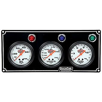 Quickcar Racing Products 61-6712 3 Gauge Panel OP/WT/Fpblack