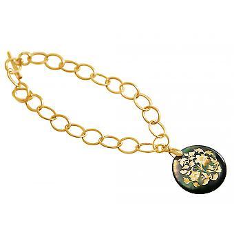 Gemshine Armband Anhänger Medaillon Perlmutt Vergoldet Grau 2,5 cm