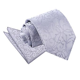 Silver Swirl Tie & Pocket Square Set