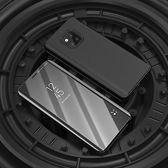 Für Samsung Galaxy J4 Plus J415F Clear View Spiegel Mirror Smartcover Schwarz Schutzhülle Cover Etui Tasche Hülle Neu Case Wake UP Funktion