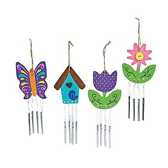 12 Paint Your Own Spring Themed Wood Wind Chimes | Flower Garden Crafts