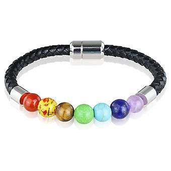 Skipper bracelet cuir bracelet avec perles 21,5 cm noir/coloré 7727